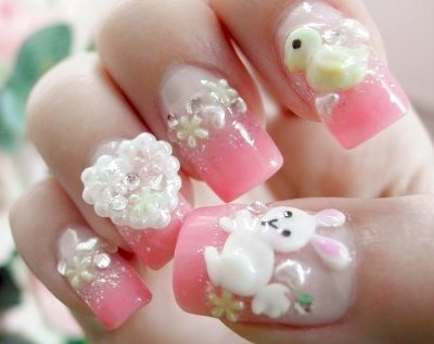 pink cute easter nail art