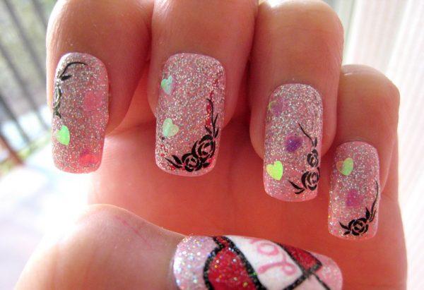 pink glitter valentine nail art