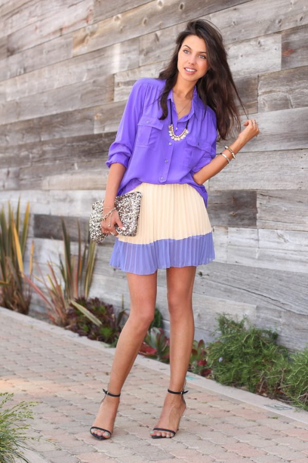 pleated skirt spring outfit 2014