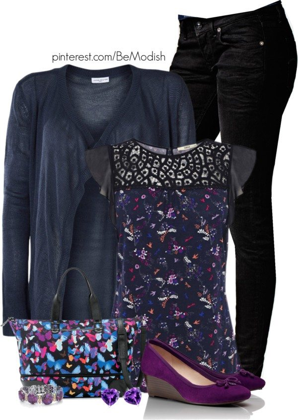 purple and navy blue outfit ideas with cardigans