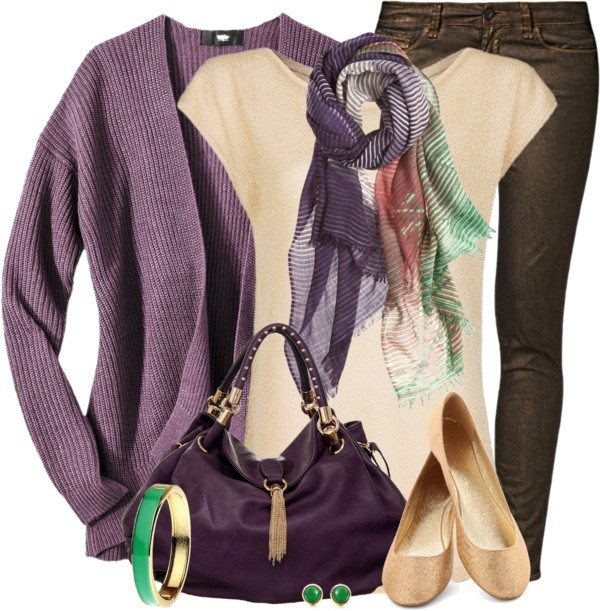 purple cardigan with beige shirt