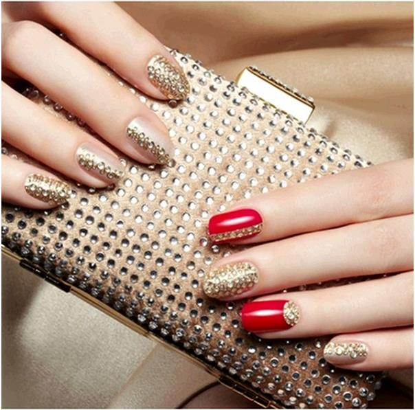 red gold hot nail designs 2014