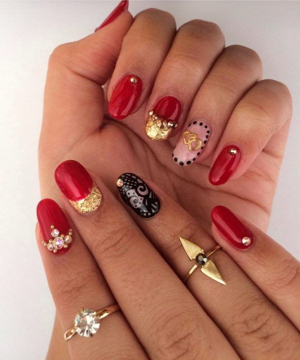red valentine nail art 2014