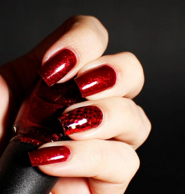 ruby red hot nail art