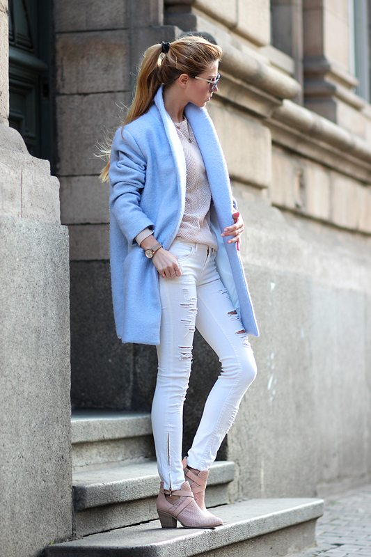 soft blue oversized cardigan spring outfit 2014