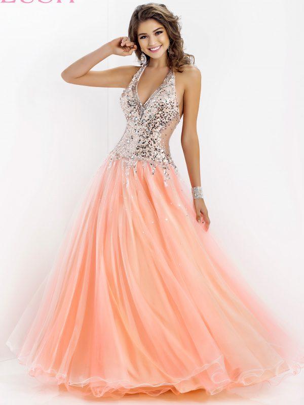 soft orange halter top dress