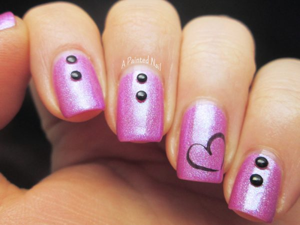 studded valentine nail art 2014