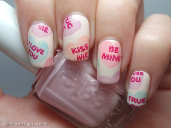 valentines day candy hearts pastel nail art 1