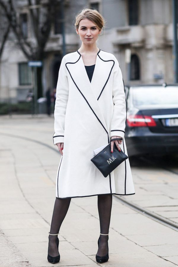 white coat milan street style