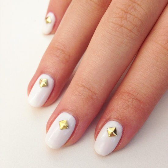white studded hot nail art