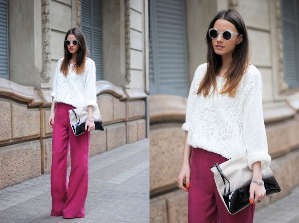 wide leg pants and sweater spring outfit 2014