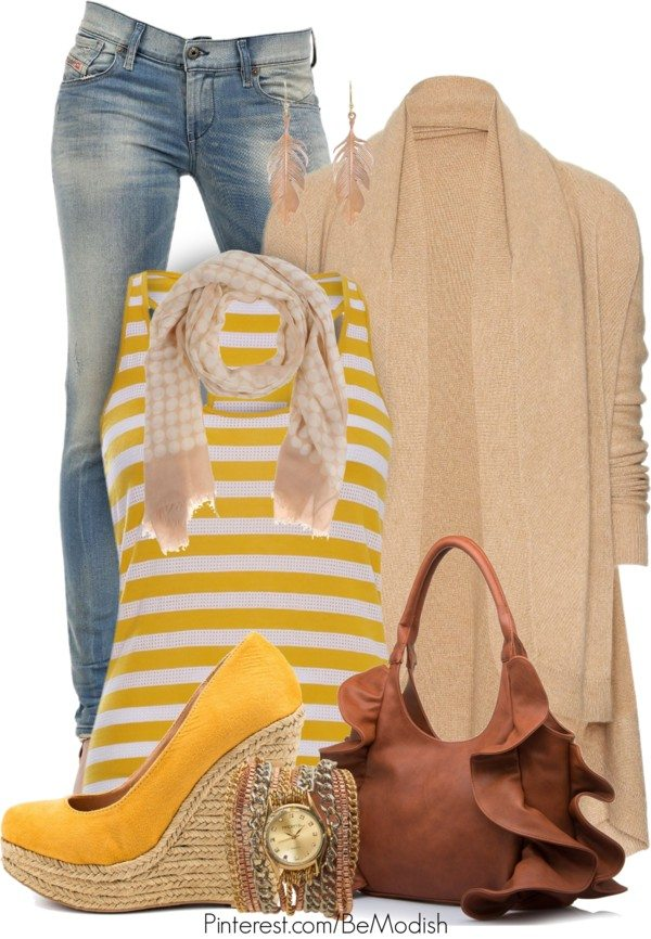 yellow striped tank top with cardigan