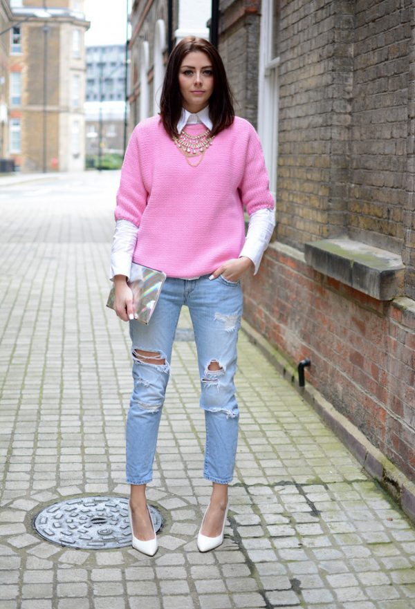 zara-knitwear-light-fuchsia-sweaters and boyfriend jeans