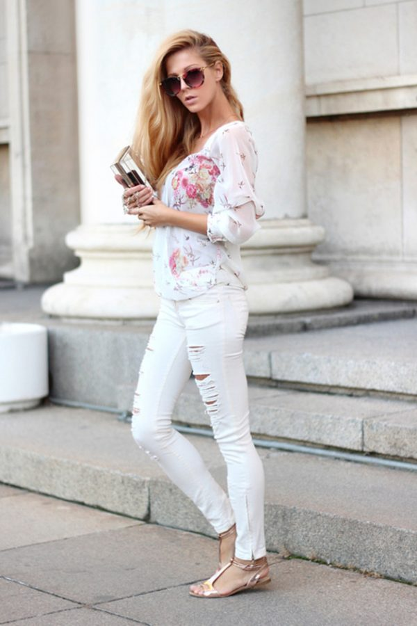 white ripped jeans with floral blouse