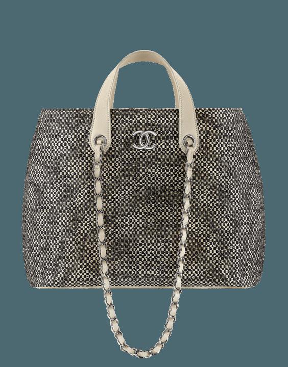 Braided Straw Calfskin Large Shopping Bag grey