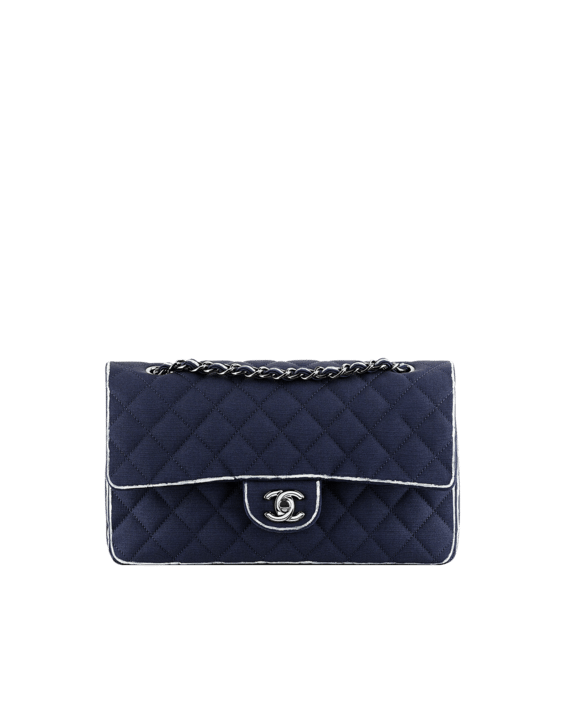 Classic Bag in Grosgrain with Hand Painted Trim dark blue