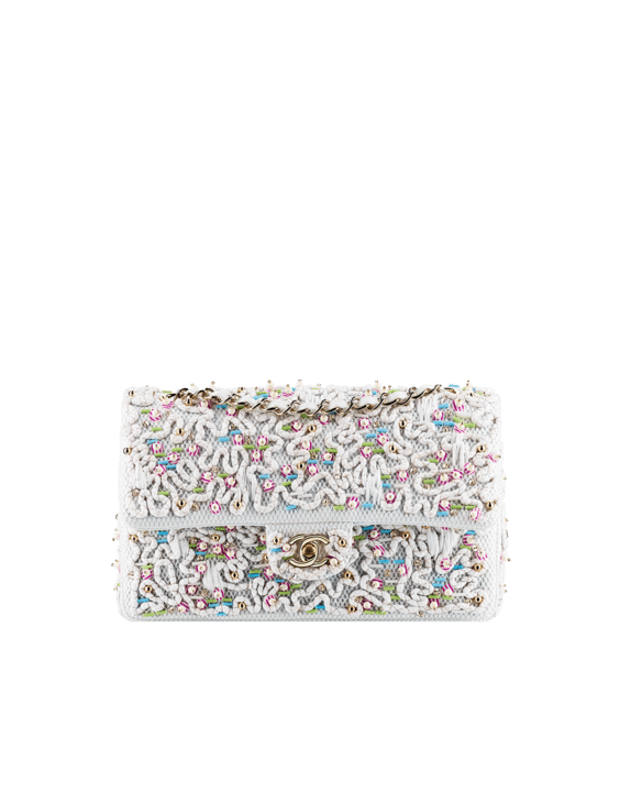 Classic Flap Bag Embroidered with Sequins and Pearls white