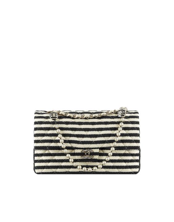 Flap Bag in Jersey With Interlaced Chain and Pearls
