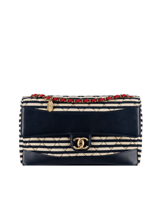 Jersey and Lambskin Flap Bag dark blue and white