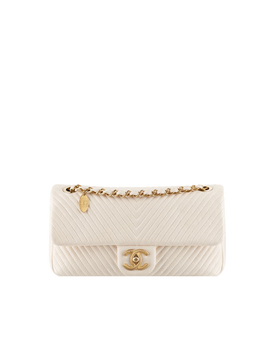 Lambskin Flap Bag with Herringbone Quilting ivory