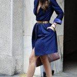 blue belted dress shirt