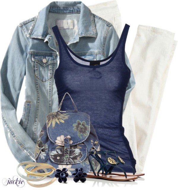 casual outfit with navy blue tank top with denim