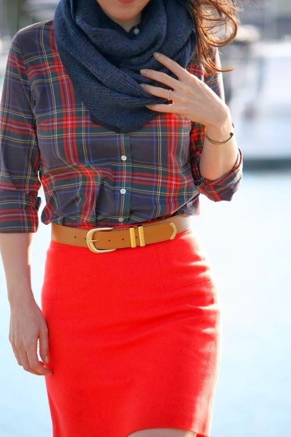 coral pencil shirt with flannel plaid