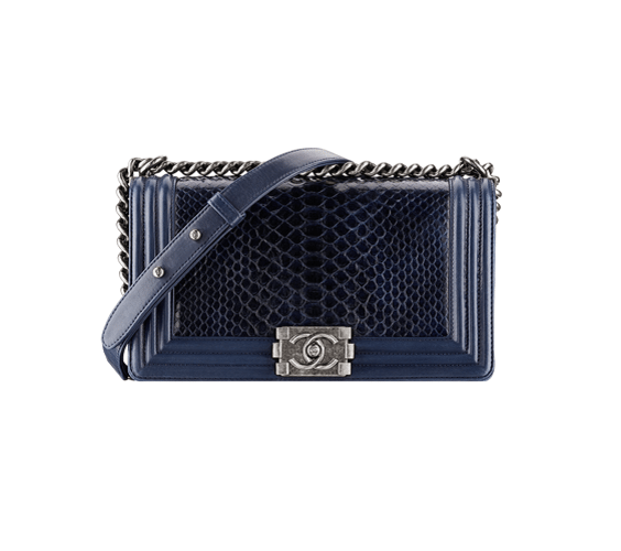 dark blue Python Boy Chanel Large Flap Bag