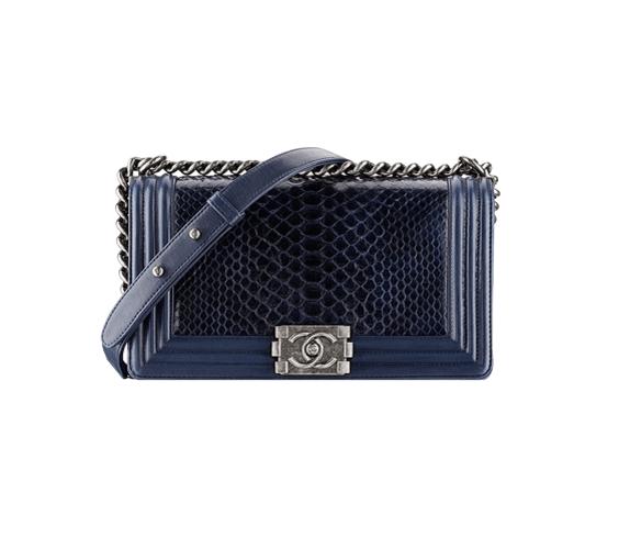 dark blue Python Boy Chanel Large Flap Bag