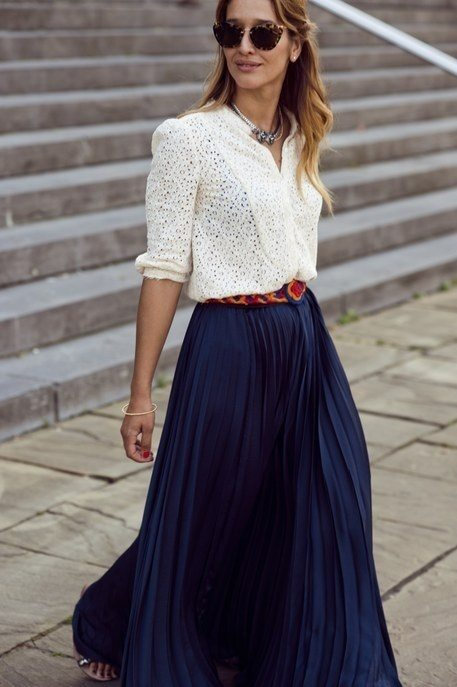 Navy Blue Pleated Maxi Skirt - Dress Ala