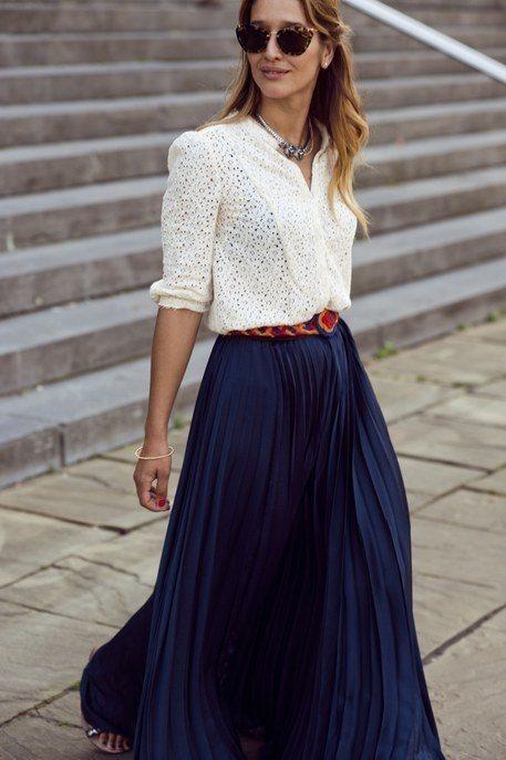 dark blue pleated maxi skirt