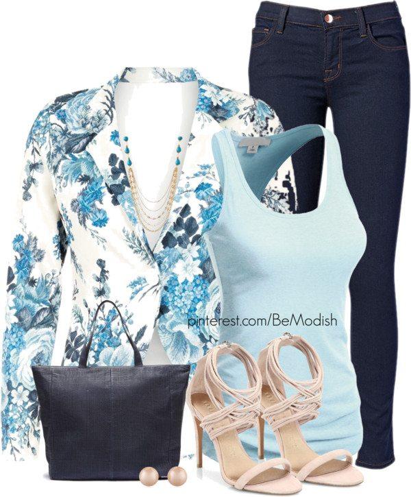 floral blue blazer outfits