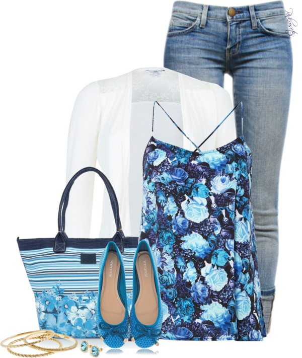 floral blue with white blazer outfit