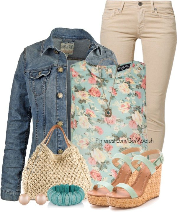 floral pastel with denim jacket