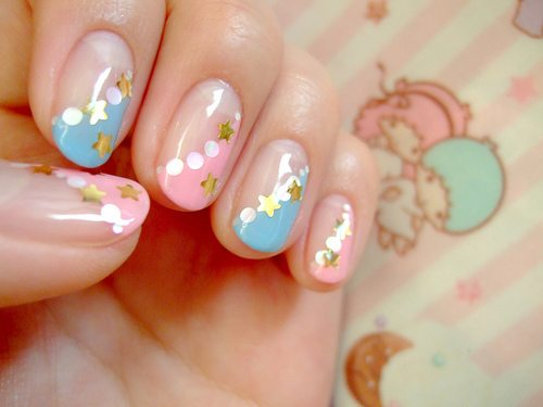 glitter acrylic pink colorful nail art