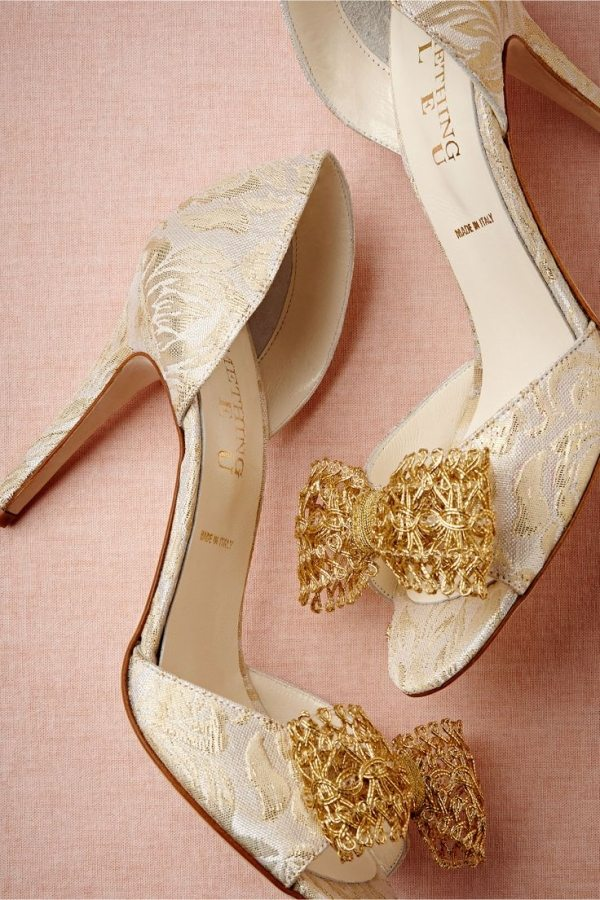 gold lace bow heels