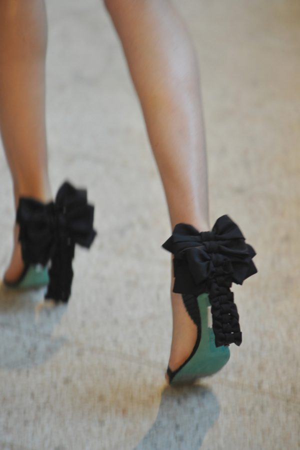 green black bow heels