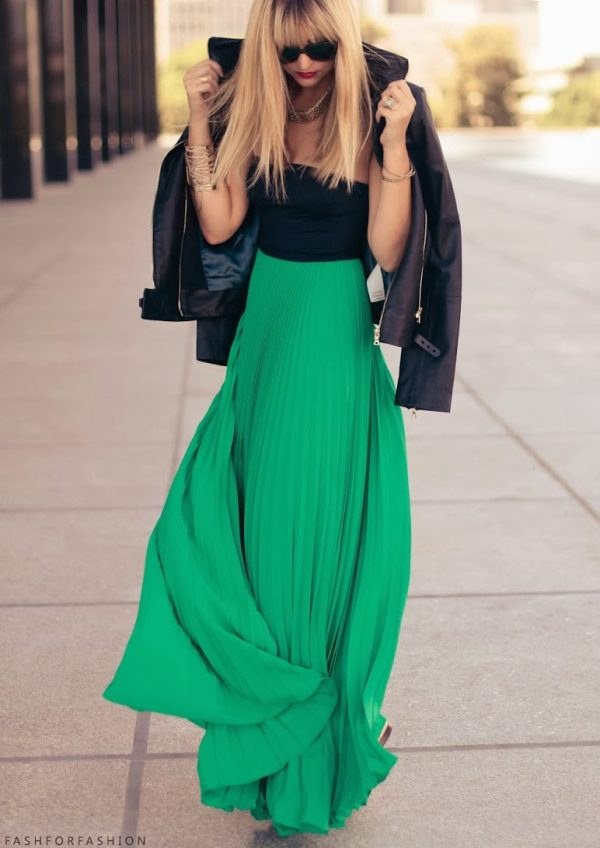 green maxi skirt style