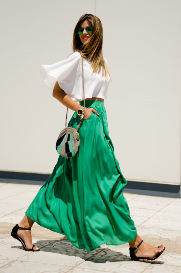 green maxi skirt with white top