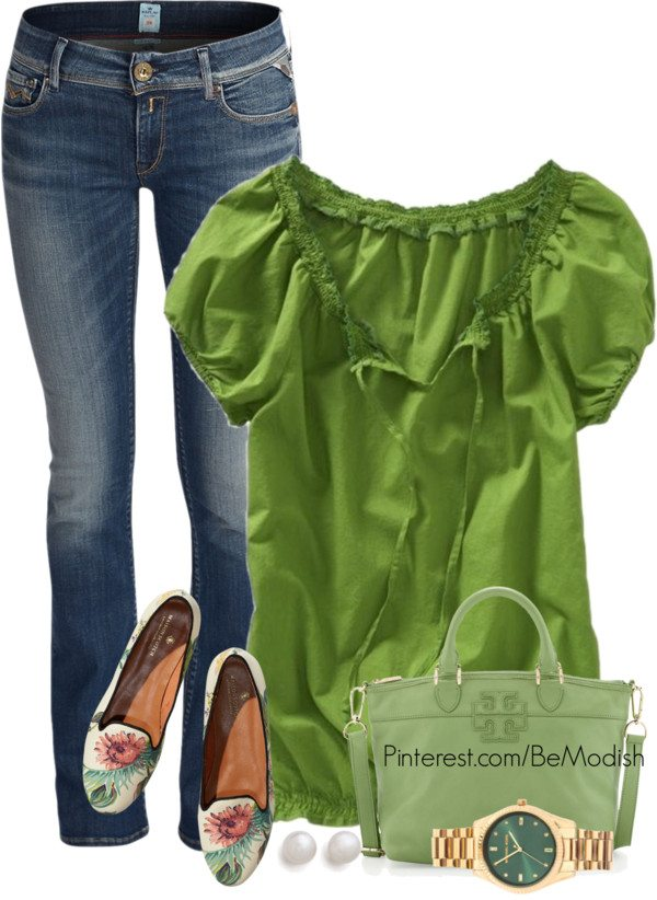 green shirt outfits