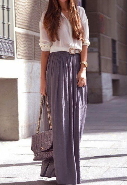 grey maxi skirt H&M