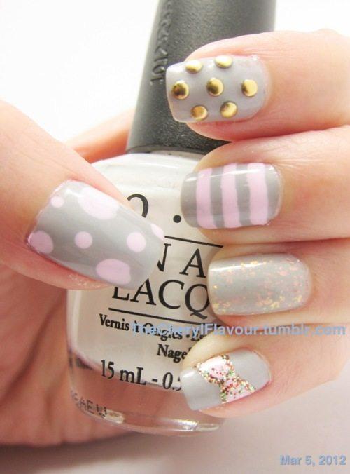 grey pink pastel nail
