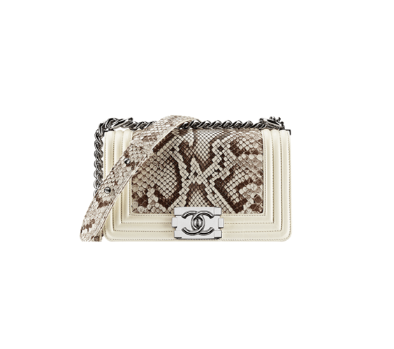 ivory Python Boy Chanel Large Flap Bag
