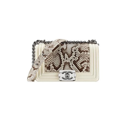 ivory Python Boy Chanel Large Flap Bag