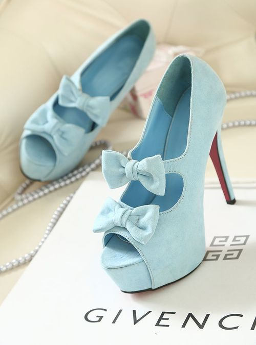 light blue bow heels