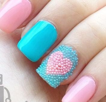 love pink and blue nail art