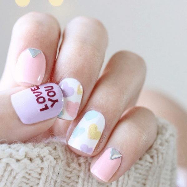 love you nail art