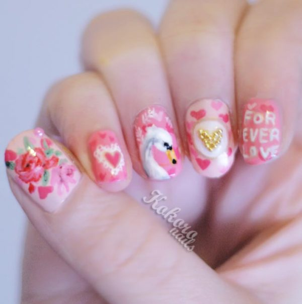 lovely pink creative nail art
