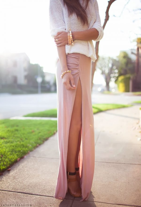 maxi skirt with sweater