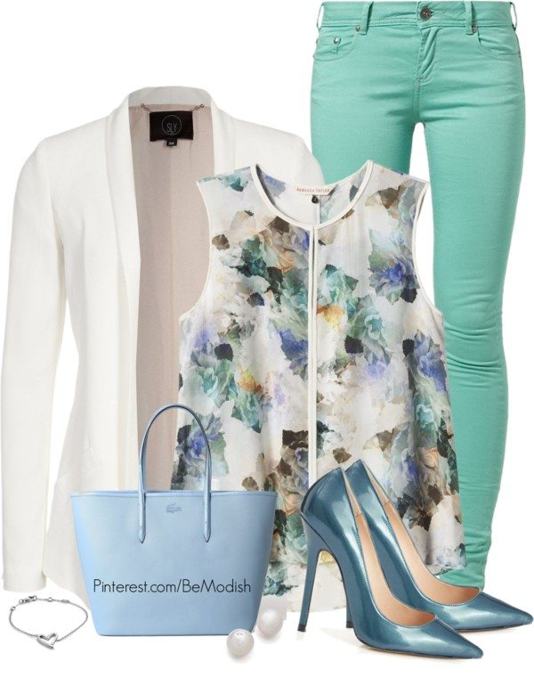 mint jeans and floral top